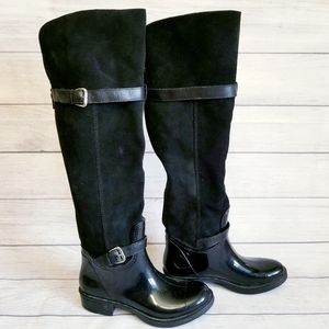 Nine West Black Suede Leather and Rubber Boots, 7